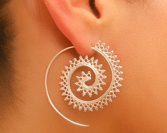 Silver Earrings - Silver Spiral Earrings - Gypsy Earrings - Tribal Earrings - Ethnic Earrings - Indian Earrings - Statement Earrings (ES3)