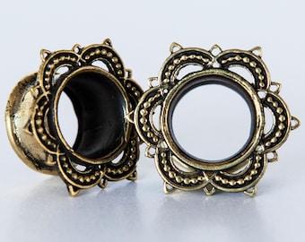 Esha Brass Plugs - Ear Plugs - Ear Gauges - Tribal Plugs - Indian Plugs - Piercing Plugs - Gauge Jewelry - Ear Tunnel - Brass Tunnel (BT1)