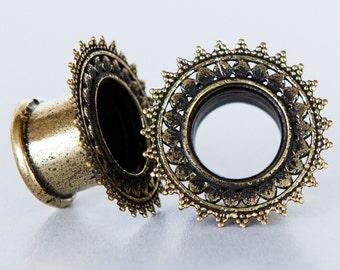 Harsha Brass Plugs - Ear Plugs - Ear Gauges - Tribal Plugs - Indian Plugs - Piercing Plugs - Gauge Jewelry - Ear Tunnel - Brass Tunnel (BT3)