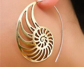 Brass Earrings - Brass Spiral Earrings - Gypsy Earrings - Tribal Earrings - Ethnic Earrings - Indian Earrings - Statement Earrings (EB41)