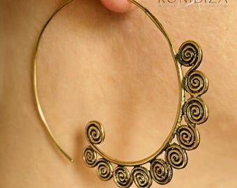 Brass Earrings - Brass Spiral Earrings - Gypsy Earrings - Tribal Earrings - Ethnic Earrings - Indian Earrings - Statement Earrings  (EB92)