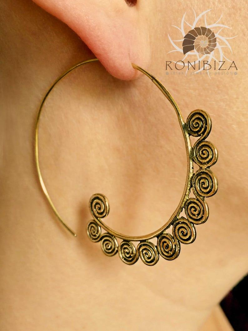 19fd82167239f Brass Earrings - Brass Spiral Earrings - Gypsy Earrings - Tribal Earrings -  Ethnic Earrings - Indian Earrings - Statement Earrings (EB92)