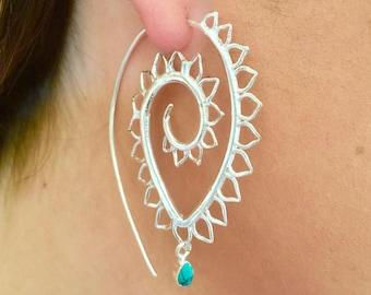 Silver Earrings - Silver Spiral Earrings - Gypsy Earrings - Tribal Earrings - Ethnic Earrings - Indian Earrings - Statement Earrings (ES52)