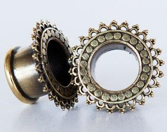 Gotam Brass Plugs - Ear Plugs - Ear Gauges - Tribal Plugs - Indian Plugs - Piercing Plugs - Gauge Jewelry - Ear Tunnel - Brass Tunnel (BT5)