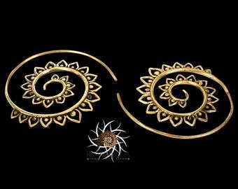 Brass Earrings - Brass Spiral Earrings - Gypsy Earrings - Tribal Earrings - Ethnic Earrings - Indian Earrings - Statement Earrings  (EB50)