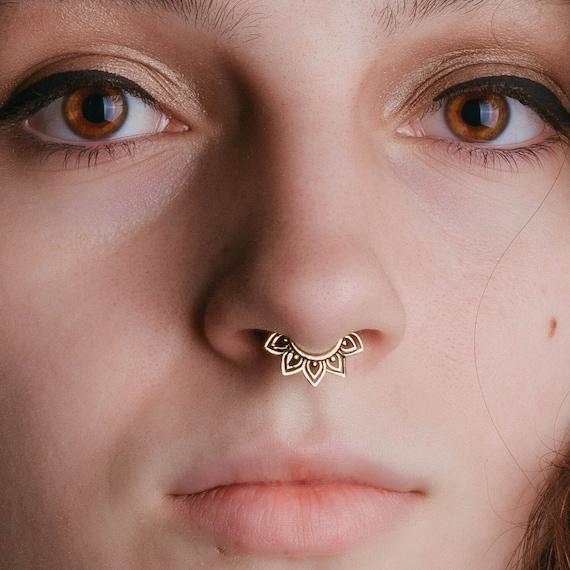 Tribal Flower Septum Ring 16 Gauge Septum Piercing Ring Etsy