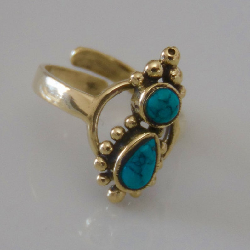 Brass Toe Ring Adjusable Toe Ring Gemstone Toe Ring Beach Jewelry Tribal Summer Jewelry T39B Foot Accessories Foot Ring