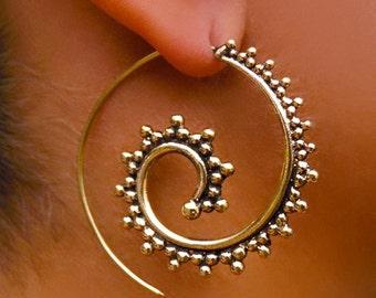 Brass Earrings - Brass Spiral Earrings - Gypsy Earrings - Tribal Earrings - Ethnic Earrings - Indian Earrings - Statement Earrings  (EB4)