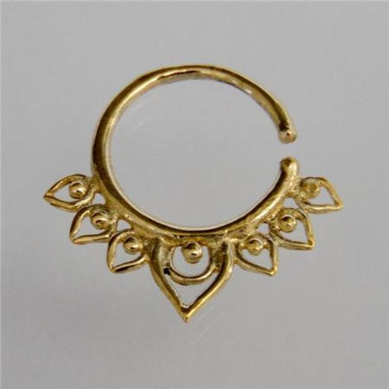 B10 16G Septum Ring Septum Piercing Lotus Brass Septum Ring Tribal Septum Ring Indian Septum Ring 18G septum Septum Jewelry