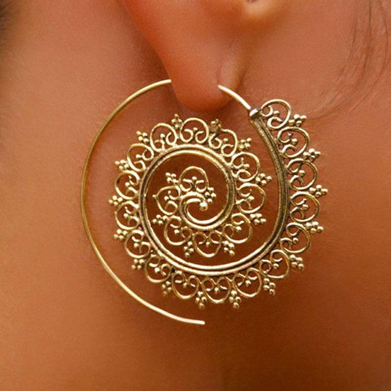 Brass Earrings  Brass Spiral Earrings  Gypsy Earrings  image 1