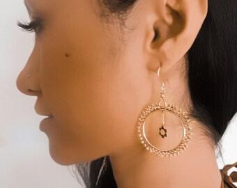 Brass Earrings - Tribal Earrings - Indian Earrings - Gypsy Earrings - Ethnic Earrings - Statement Earrings - Long Earrings (EB63)