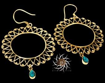 Brass Earrings - Tribal Earrings - Indian Earrings - Gypsy Earrings - Ethnic Earrings - Statement Earrings - Long Earrings - Gemstone (EB74)