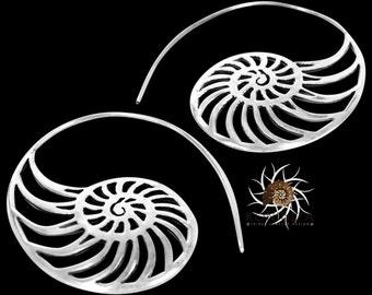 Silver Earrings - Silver Spiral Earrings - Gypsy Earrings - Tribal Earrings - Ethnic Earrings - Indian Earrings - Statement Earrings (ES41)