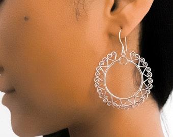 Silver Earrings - Tribal Earrings - Indian Earrings - Gypsy Earrings - Ethnic Earrings - Statement Earrings - Long Earrings (ES77)
