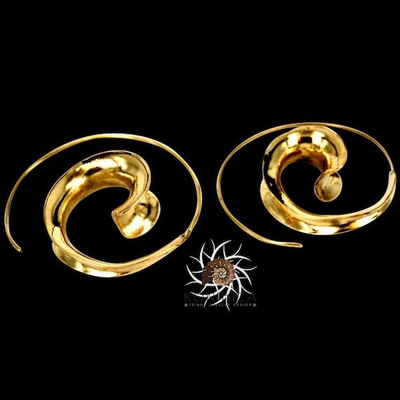 0998aa3f5d54d Brass Earrings - Brass Spiral Earrings - Gypsy Earrings - Tribal Earrings -  Ethnic Earrings - Indian Earrings - Statement Earrings (EB13)