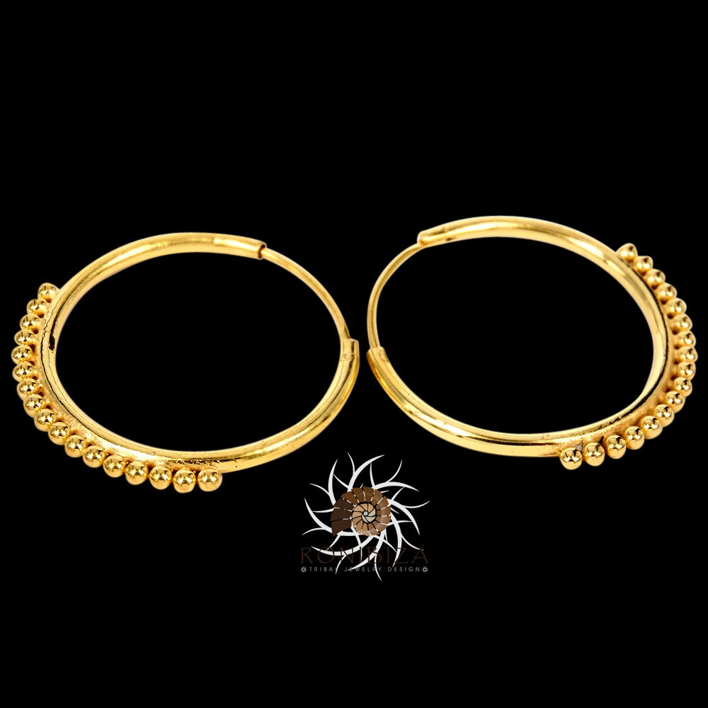 33009ae6e7e44 Gold Earrings - Gold Hoops - Ethnic Hoops - Gypsy Hoops - Ethnic Earrings -  Hoops Jewelry - Brass Jewelry - Ethnic Jewelry
