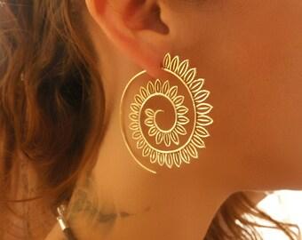Brass Earrings - Brass Spiral Earrings - Gypsy Earrings - Tribal Earrings - Ethnic Earrings - Indian Earrings - Statement Earrings (EB45)