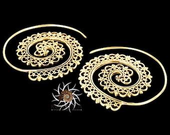 Brass Earrings - Brass Spiral Earrings - Gypsy Earrings - Tribal Earrings - Ethnic Earrings - Indian Earrings - Statement Earrings  (EB1)