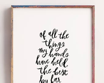 Cecilia & The Satellite, Song Lyrics Print, Handlettering, Nursery Print, Watercolor Print