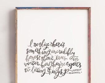 Winter Print, Handlettering, Watercolor Print, Quote Print, 8x10, 11x14