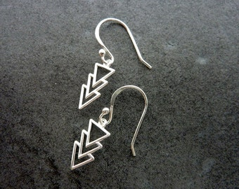 Sterling Silver Triangle Earrings/ Aztec Dangle Earring/ Statement Earrings/ Simple Tribal Earrings/ Everyday Earrings/ Geometric Earrings