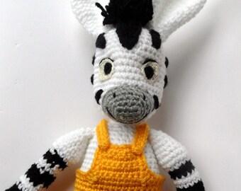 The Little Zebra Boy - 17 Inches Tall. Crochet Zebra Plush