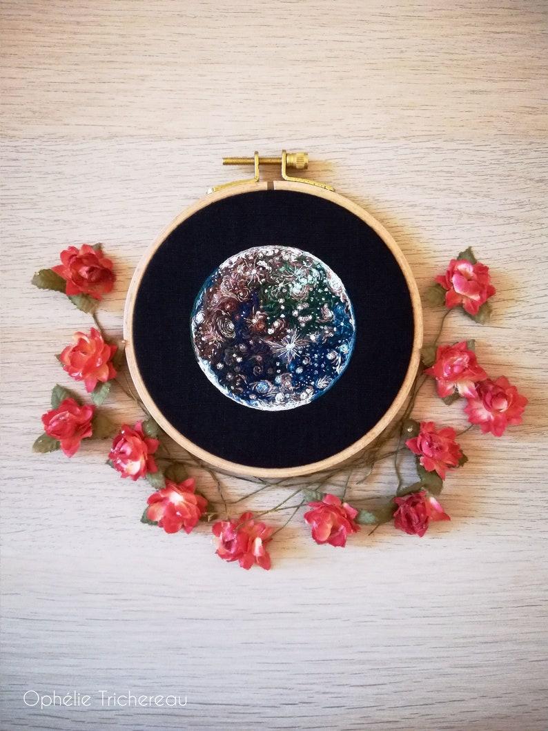 Callisto Jupiter's moon hand embroidery // Callisto image 0