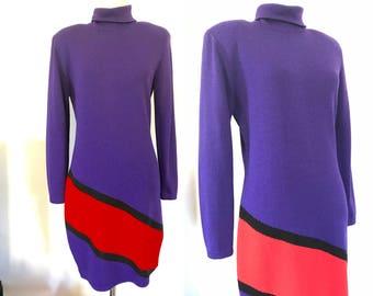 Vintage ST JOHN SWEATER Dress Designer Marie Gray S Small Santana Knit 80s 90s Purple Red Long Sleeve Turtleneck