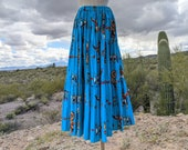 VINTAGE WESTERN Maxi Skirt Women Sz Small Medium M Large Full Circle Southwestern Turquoise Kachina Doll Liza Lynn Tier Cotton Prairie Long