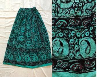 4dbf0a55c55 Vintage Maxi Skirt Handmade 70s Style COTTON GAUZE Tapestry Women S Small M  Medium Floral Paisley 1970s Boho Hippie Festival Green Black