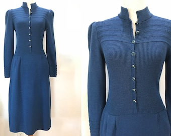 ST JOHN Sweater Dress Designer Marie Gray XS S Small Santana Knit 90s Blue Long Sleeve Button Front