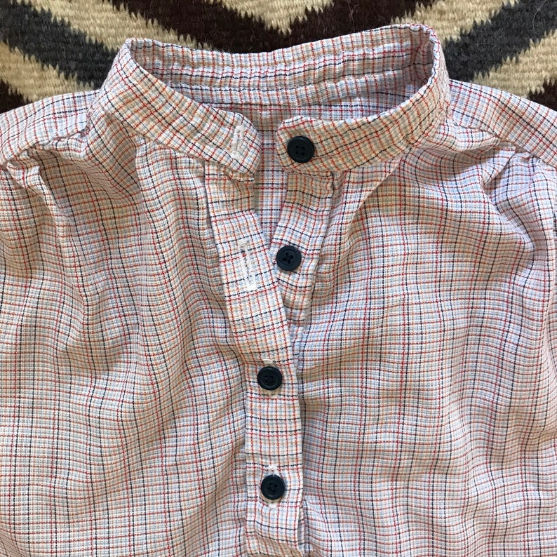 Vintage 50s PLAID SHIRT Women L XL Large Sleeveless Blouse White Blue Red Top Pin Up Rockabilly 1950s Semi Sheer Woven Fabric Button Front