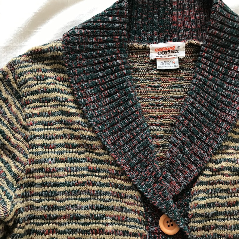 4937febe1d6889 Vintage 70s Cardigan Sweater Brown Shawl Collar CASUAL CORNER
