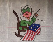 Vintage Bucilla Betsy Ross American Flag Needlepoint Painted Canvas
