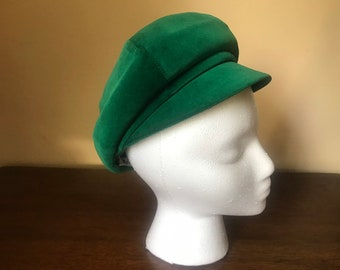 343825744d1bc Vintage i Magnin Emerald Green Velvet Newsboy Cap c 1960s