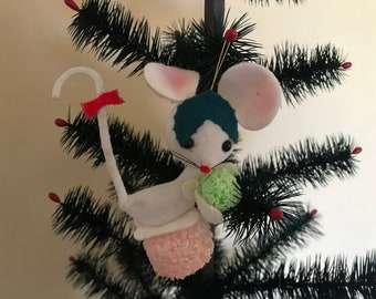 vintage mouse with gumdrop christmas ornament