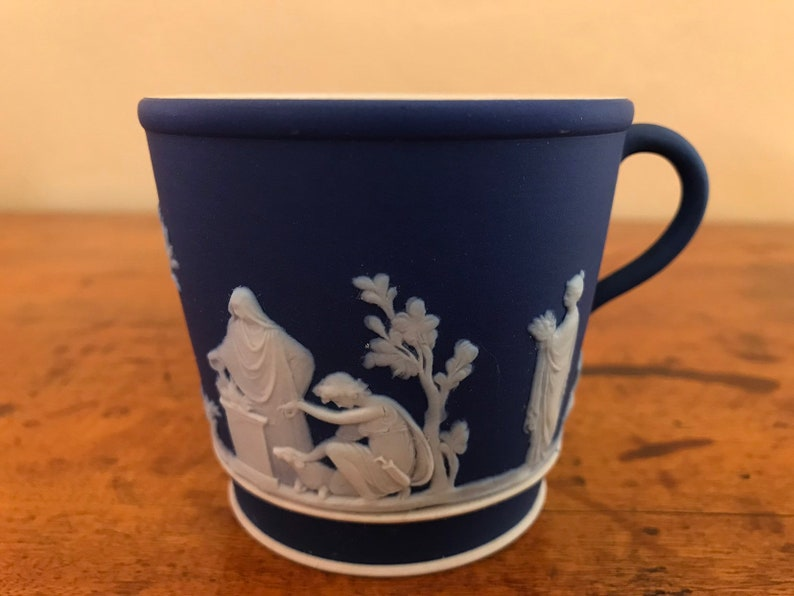 Antique Wedgwood Jasperware Cobalt Blue Brewster Coffee Cup Sacrifice Figures Circa 1890-1900
