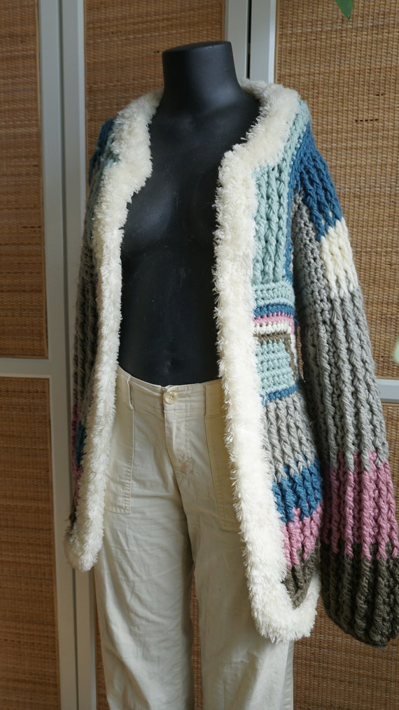 Patchwork pastel vintage knit cardigan fluffy coz… - image 3