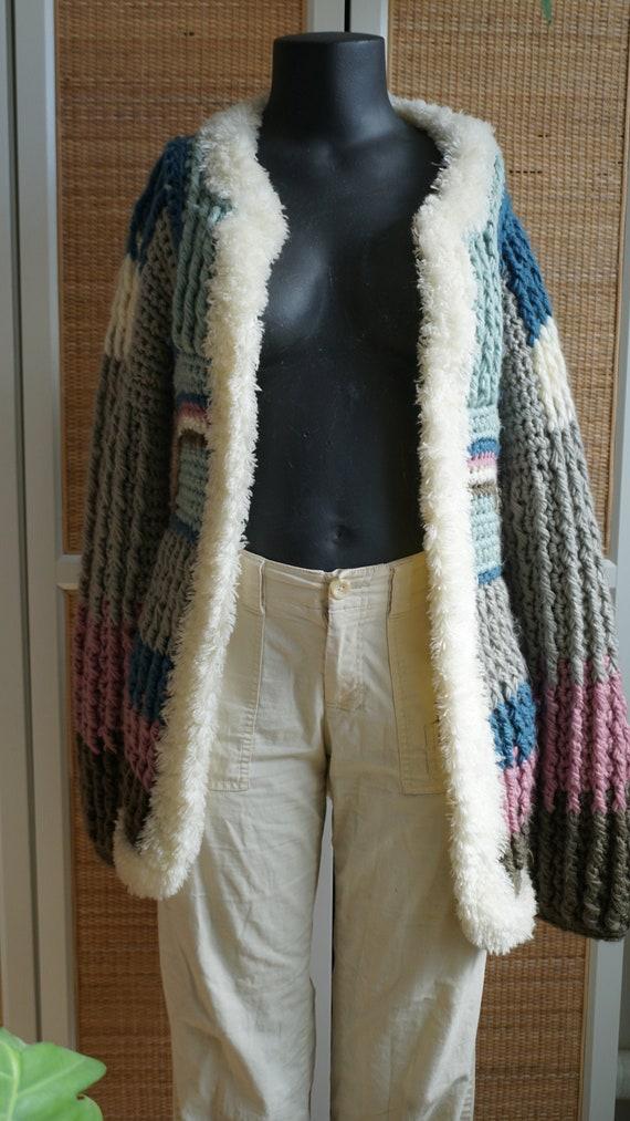 Patchwork pastel vintage knit cardigan fluffy coz… - image 1