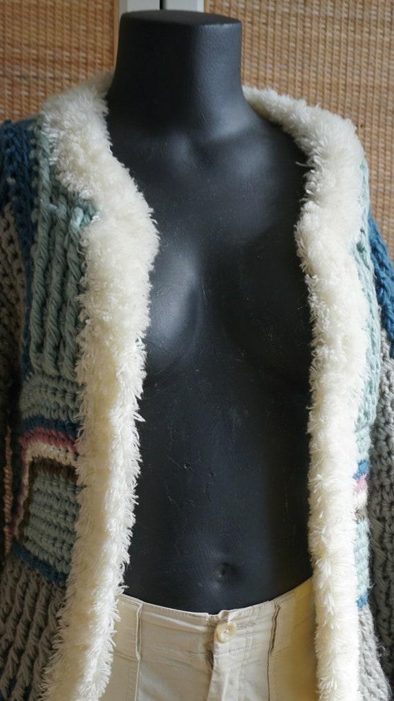 Patchwork pastel vintage knit cardigan fluffy coz… - image 2