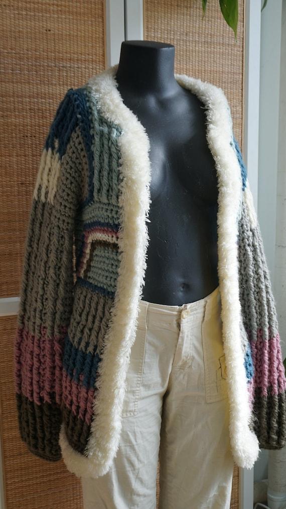 Patchwork pastel vintage knit cardigan fluffy coz… - image 4