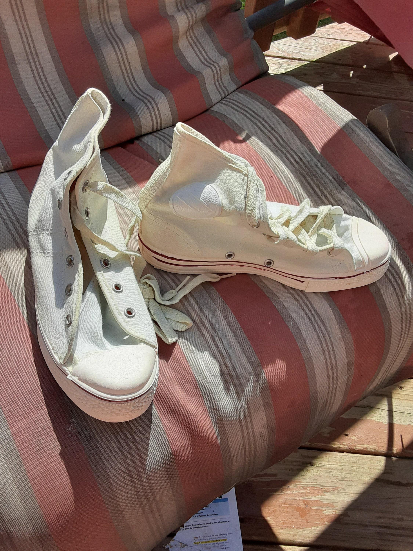1950s Mens Hats | 50s Vintage Men's Hats Asmont Canvas Vintage Deadstock Sneaker Shoe 1950 Hi Top Basketball White Men 4.5 Women 6.5 Made Usa Wear T Shirt Jean Pant Coat Jacket $35.00 AT vintagedancer.com