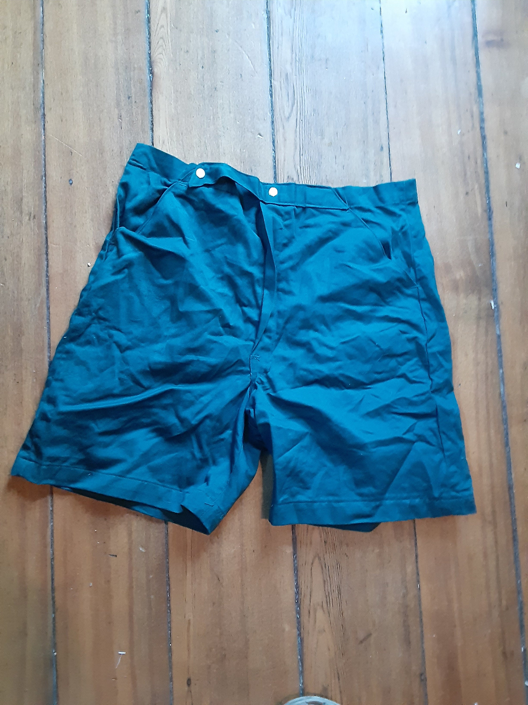 1940s Men's Shirts, Sweaters, Vests Nos Deadstock Vintage Men 1940 Cotton Short Hunter Green Size 33 Elastic Waist Trunk Wear Sneaker Shoe T Shirt Jacket Coat $70.00 AT vintagedancer.com