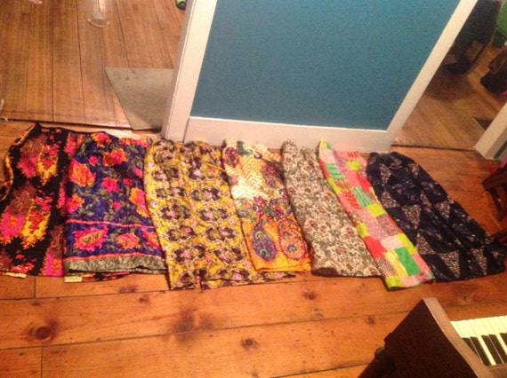 Women's quilted 1970s skirts hippy vintage tapestr