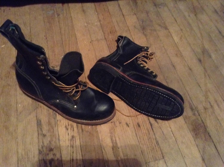6d 7d 8d hecho USA USA USA puntada sola obra  botas  cuero zapatos acero toe liniero  botas  material vintage  hombres  pick 1 desgaste t camisa jeans pantalones capa f8cf4a