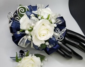 Navy blue and silver silk wrist corsage set homecoming prom corsage set
