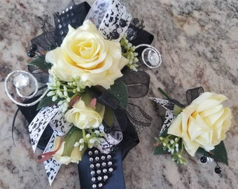 Black white and yellow wrist corsage set homecoming corsage prom corsage set