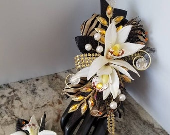 Black and gold tiger stripe silk wrist corsage set homecoming corsage prom corsage set