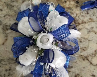 Royal blue and silver silk wrist corsage set homecoming corsage prom corsage set