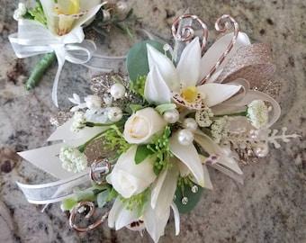Platinum and cream silk wrist corsage set homecoming corsage prom corsage set